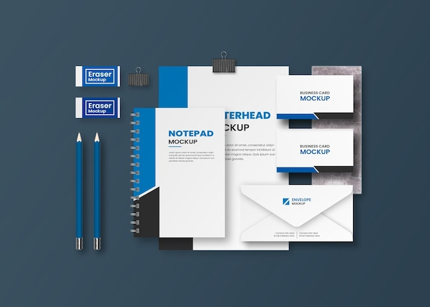 Top view corporate business stationery mockup design
