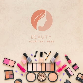 Top view cosmetics arrangement
