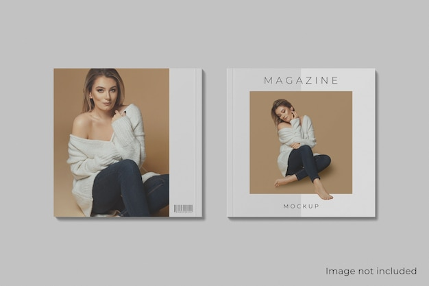 Top view cover front and back square magazine mockup isolated