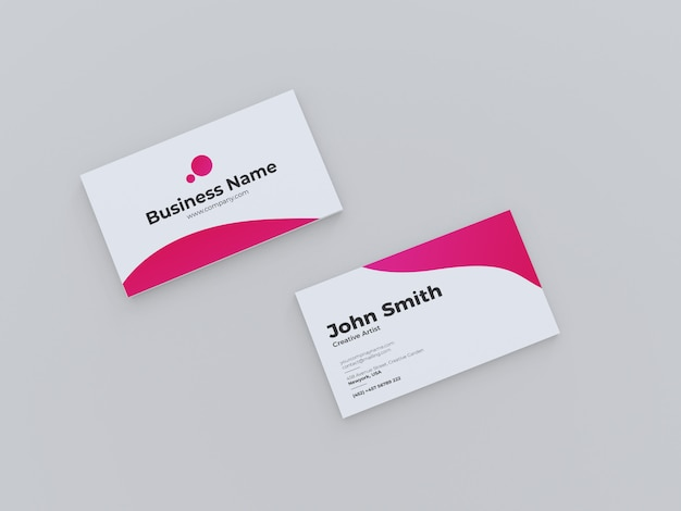 Top view creative business card mockup