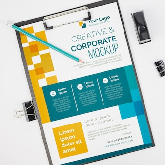 Top view creative and corporatebusiness mock-up