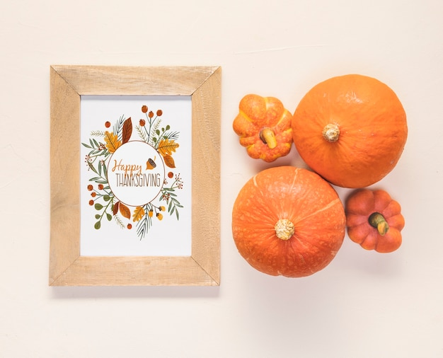 Top view cute fresh pumpkins with mock-up