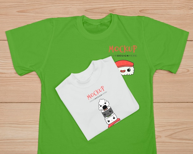 Top view of cute t-shirt concept mock-up