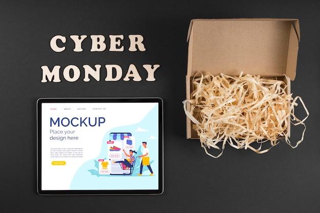 Vista dall'alto del mock-up del concetto di cyber lunedì