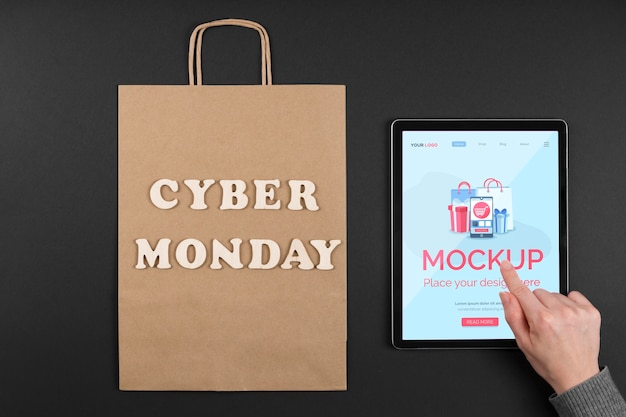 Top view of cyber monday concept mock-up