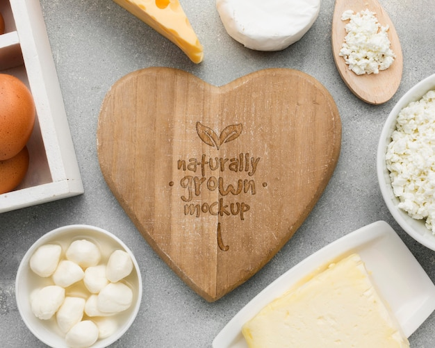 Top view dairy products mock-up