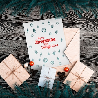 Top view of decorative items of christmas mockup