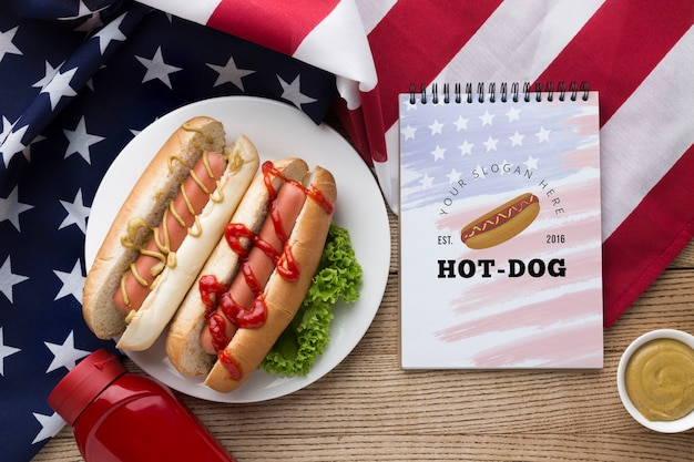 Top view of delicious american food mock-up