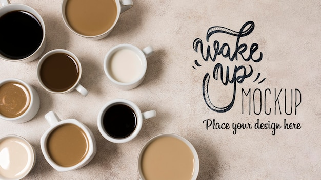 Top view delicious assortment of coffee Premium Psd