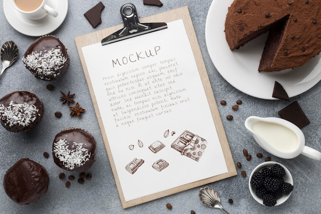 Top view of delicious bakery concept mock-up