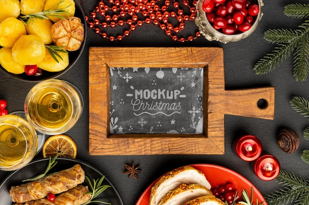 Top view of delicious christmas food mock-up
