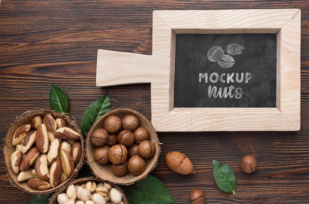 Top view of delicious nuts mock-up