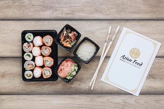 Top view delicious sushi arrangement
