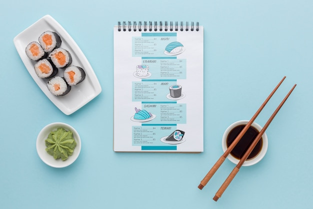 Top view delicious sushi menu