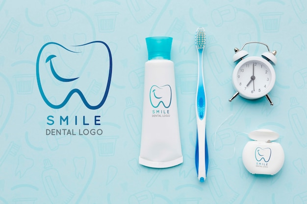 Top view dental care accessories with mock-up