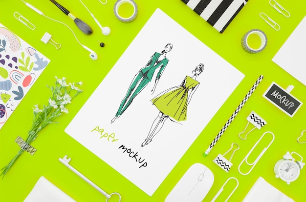 Top view designer and stationery items mock-up