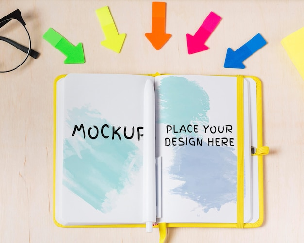 Top view of desk concept with agenda mock-up