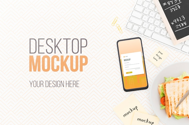 Top view desk with phone mock-up andsandwich