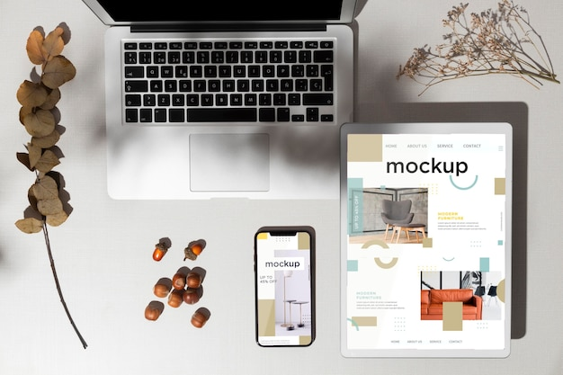 Top view devices mockup with autumn decor