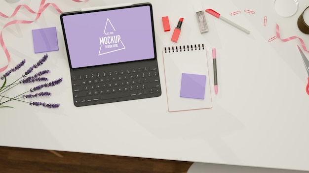 Top view of digital tablet with mockup screen and keyboard