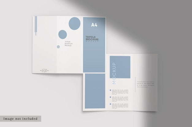 Top view of dl trifold brochure mockup