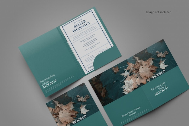 Top view document folder mockup design