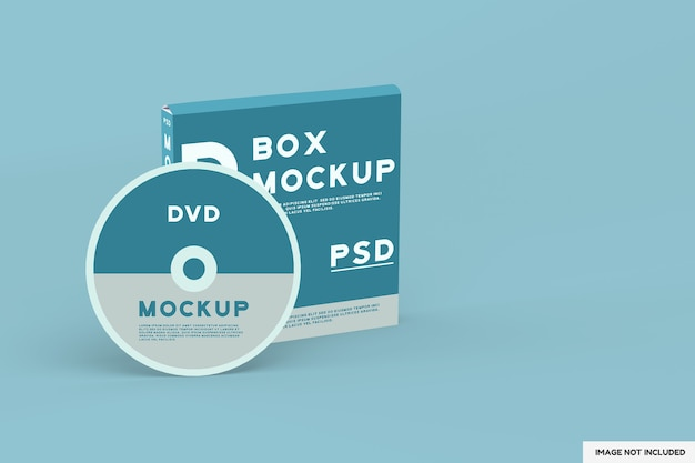 Top view on dvd disc and box mockup