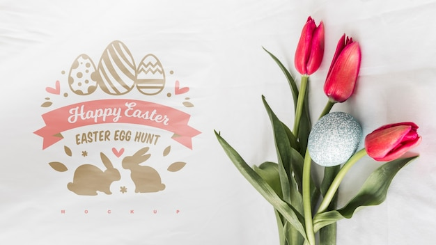 Top view easter mockup composition