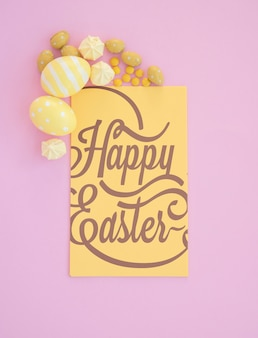 Top view easter mockup with card