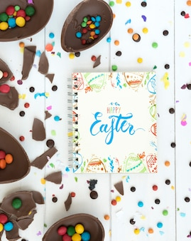 Top view easter mockup with notepad