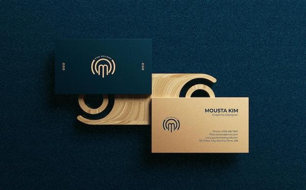 Вид сверху элегантный и современный дизайн макета визитки