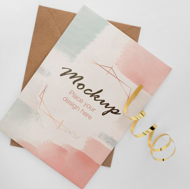 Top view of elegant birthday card with gold ribbon