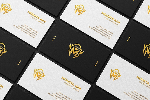 Top view elegant black and white business card mockup