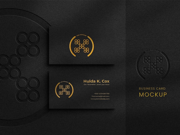 Top view elegant business card mockup on dark background with foil effects