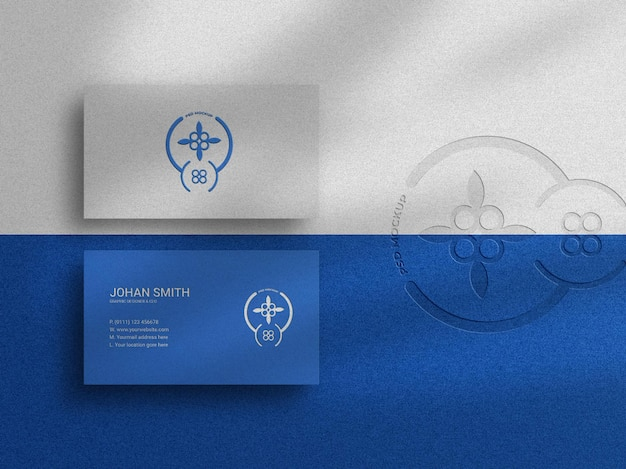 Top view elegant business card mockup with emboss effect and letterpress logo