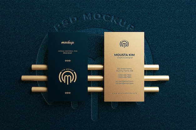 Top view elegant business card mockup