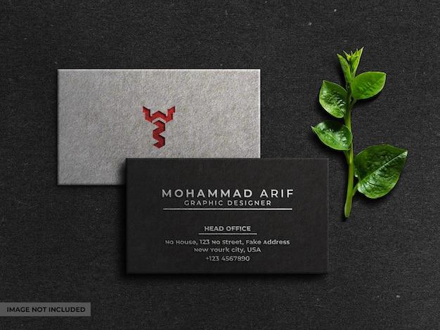 Top view elegant business card mockup