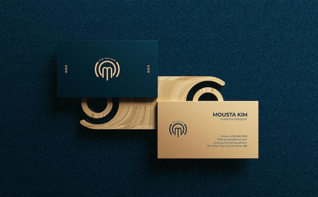 Top view elegant and modern business card mockup design