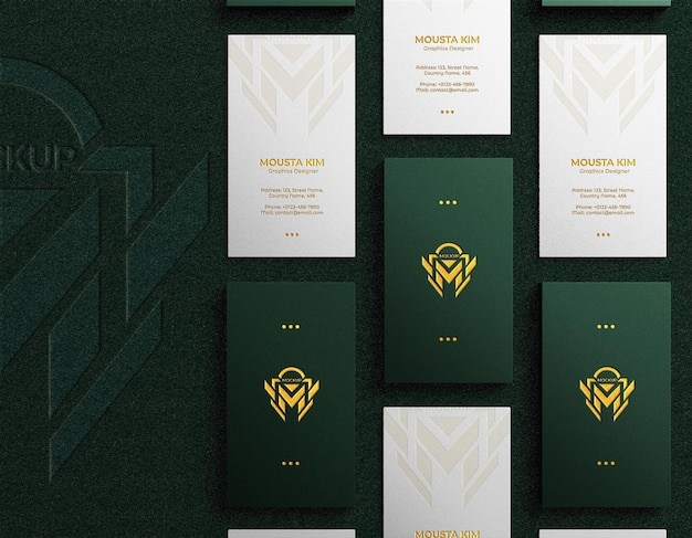 Top view elegant vertical business card with embossed logo mockup