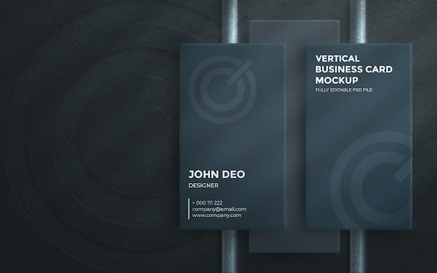 Top view on elegant vertical business card with embossed logo mockup