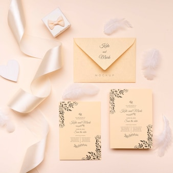 Top view elegant wedding invitation concept
