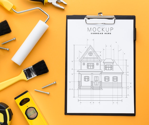 Top view engineering tools with clipboard mock-up