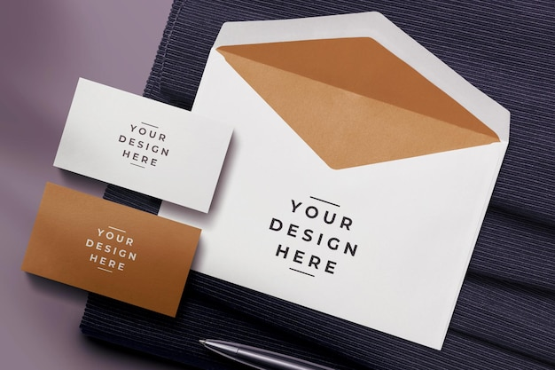 Top view envelope and business card mockup