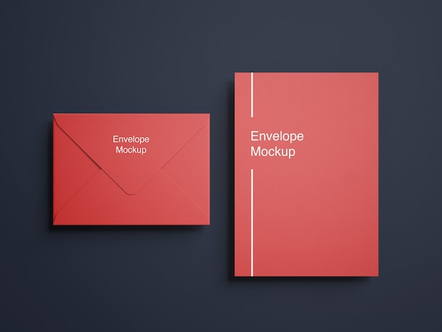 Top view envelope and letterhead mockup