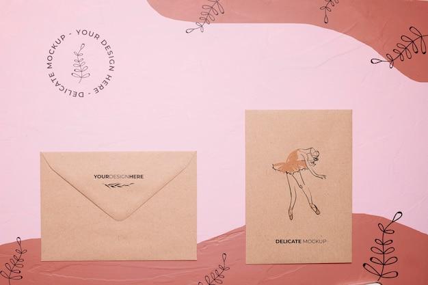 バレリーナとトップビュー封筒