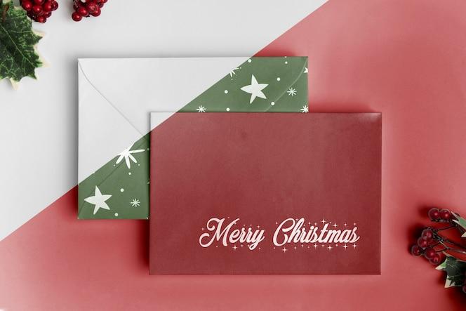 Top view envelopes and mistletoe