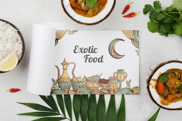 Top view exotic food concept with mock-up
