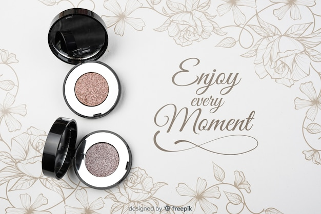 Top view of eye shadow mock-up