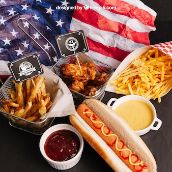 Top view fast food mockup with american flag