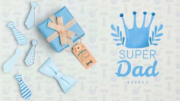 Top view father's day concept with mock-up